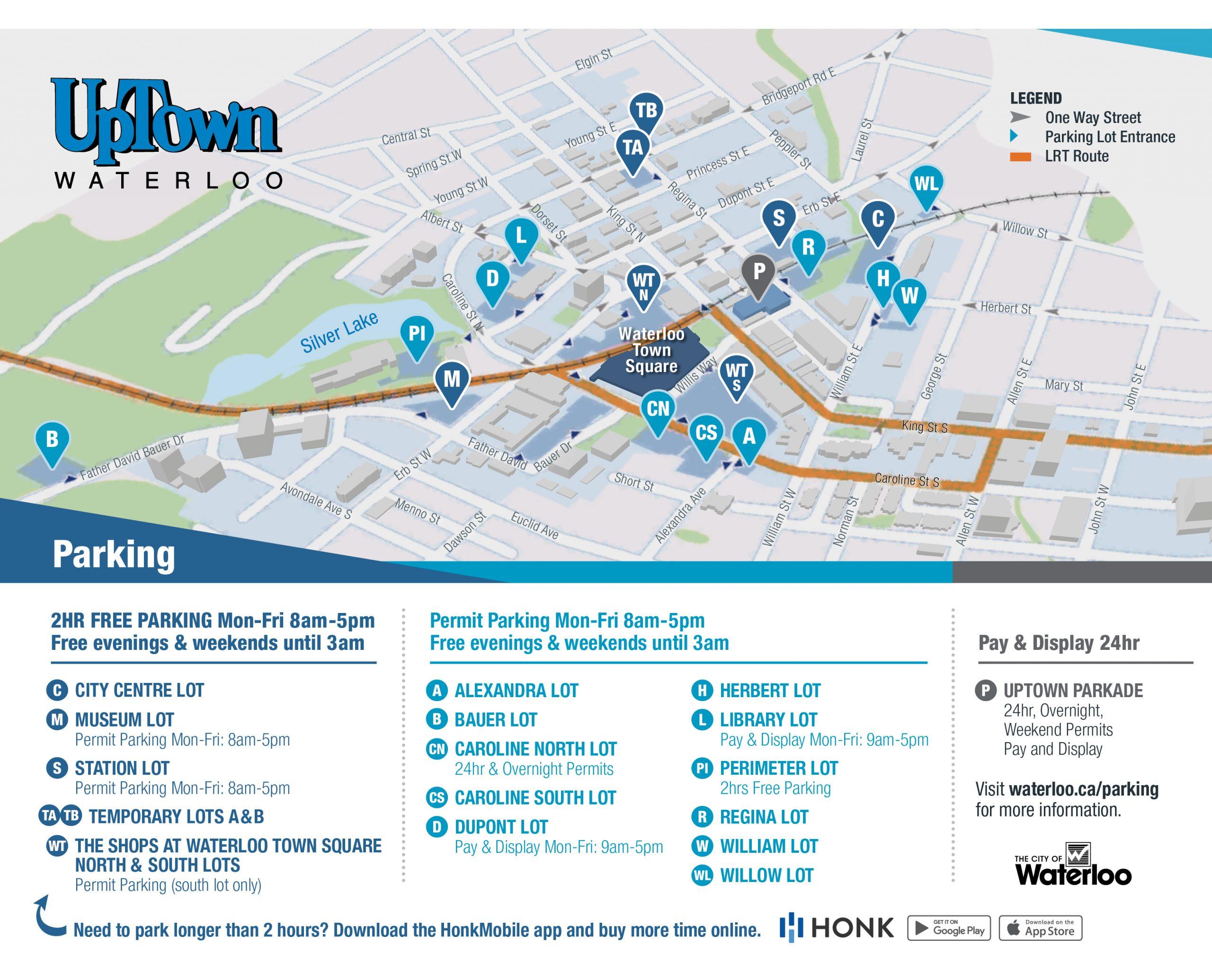 Uptown Waterloo Parking Map